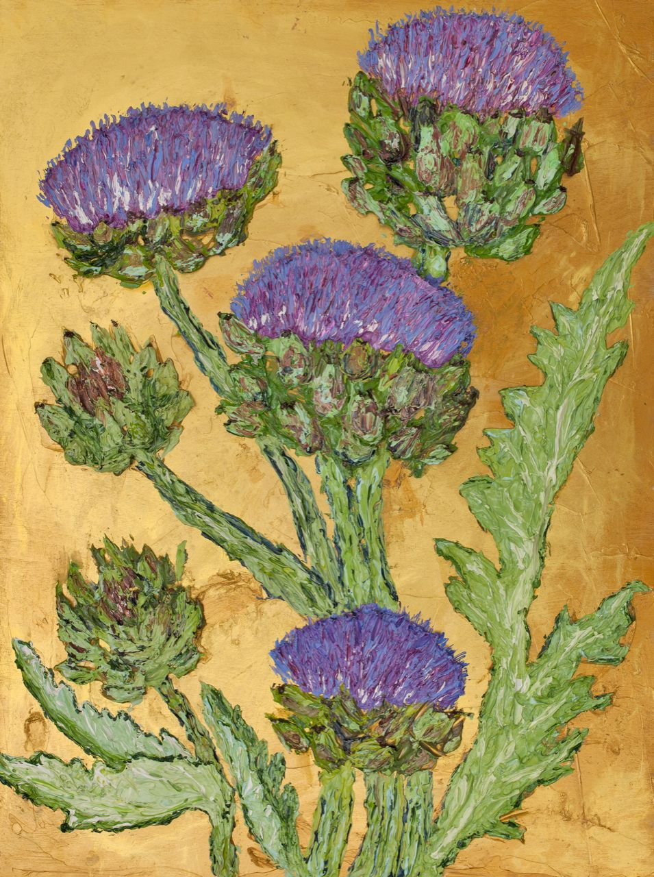 IArtichoke on Gold Four flowers Two Buds.jpg