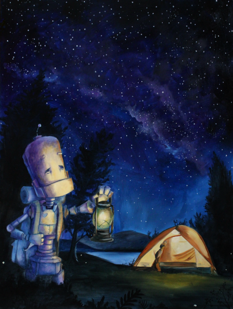 Robots_in_Rowboats_art_by_Lauren_briere_camping_bot_local_art.PNG