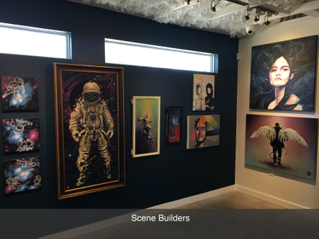 Austin local art gallery exhibition scene builders