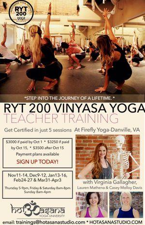 200 Hour Yoga Teacher Training at Firefly Yoga in Danville, VA