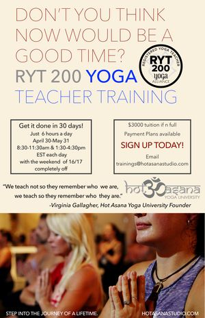 200 Hour 30 Day Yoga Teacher Training Online Immersion Hot Asana Studio