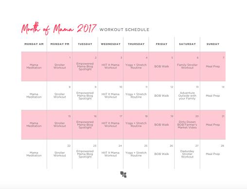 month of mama workout calendar