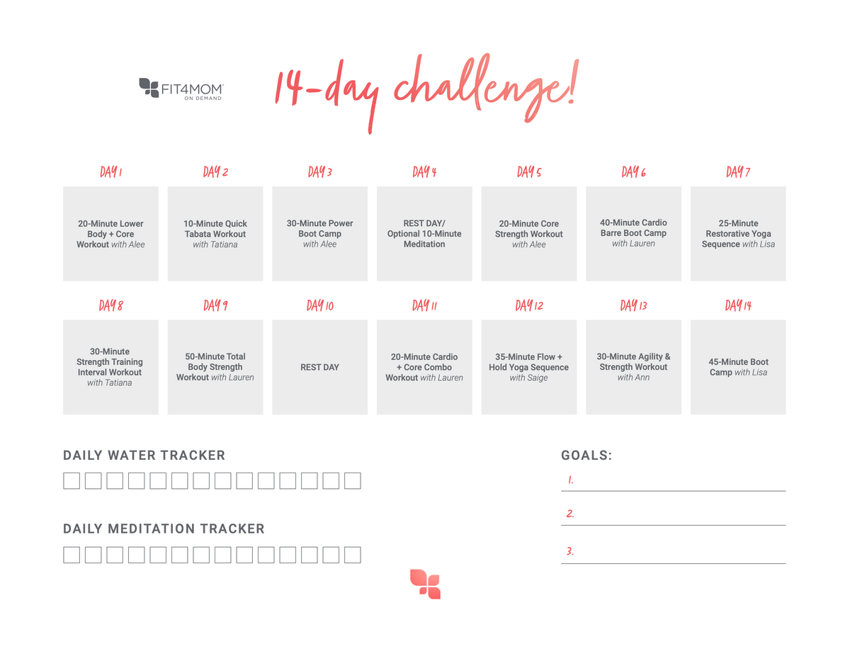 Fit4Mom share the love 14-day challenge schedule