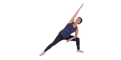 side angle stretch prenatal pose