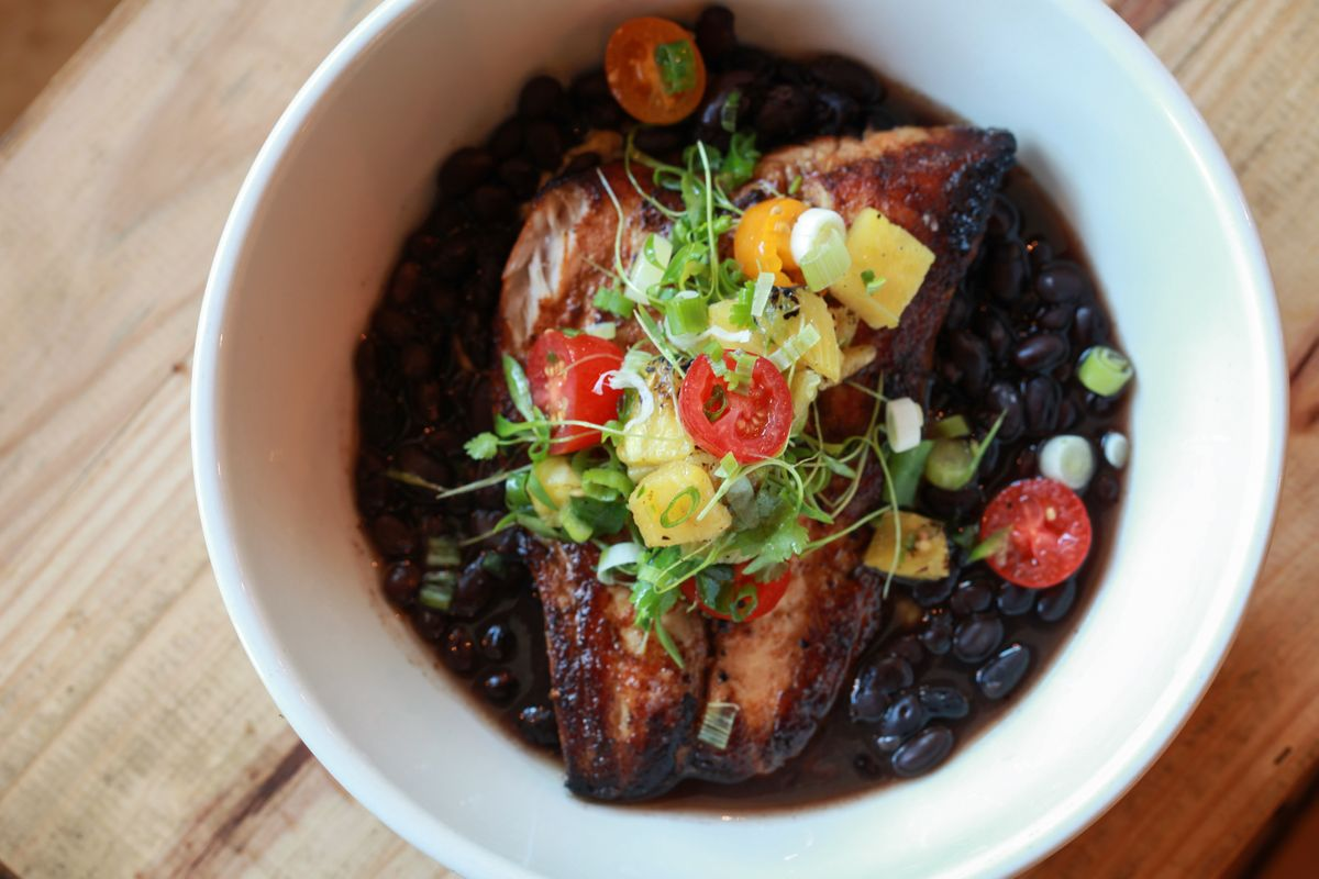 """Gulf fish """"al pastor"""" with plantain mash, adobo black beans and grilled pineapple pico.jpg"""