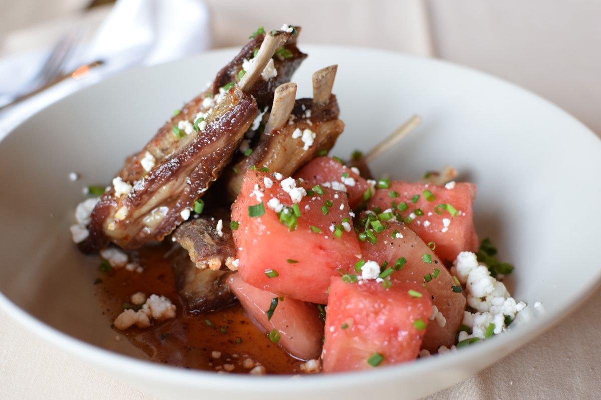 Crispy Lamb Ribs with Harissa and Honey Reduction, Spiced Watermelon and Feta (3).jpg
