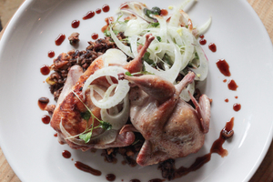 Cast iron Bandera, Tx. quail with wild rice & chorizo, walnuts, pomegranate and fennel salad.jpg