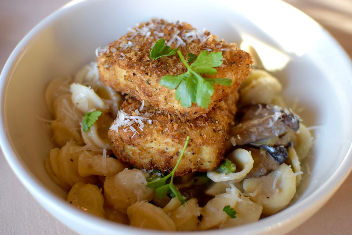Tofu & mushroom marsala with asparagus, Paulie's pasta, artichokes and reduced pan jus'.jpg