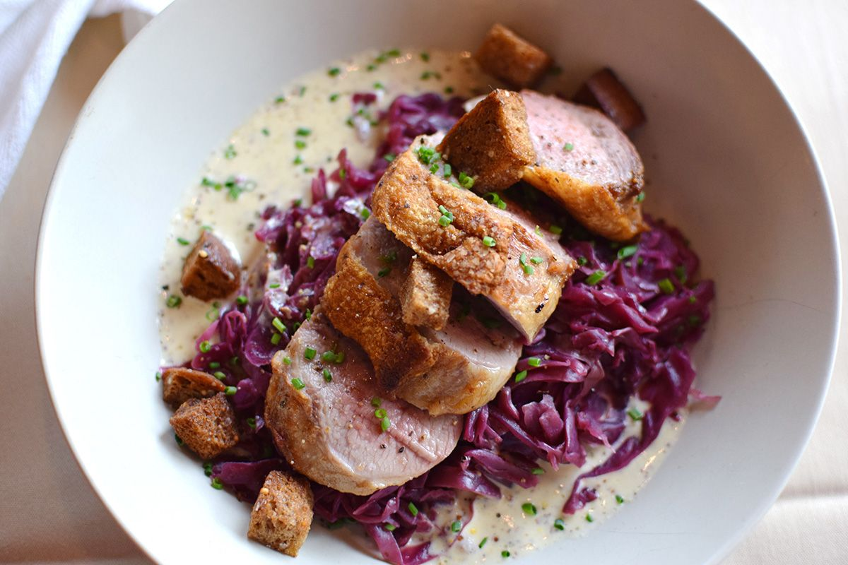 Roasted duck breast, braised cabbage and apples, mustard cream sauce, croutons.jpg