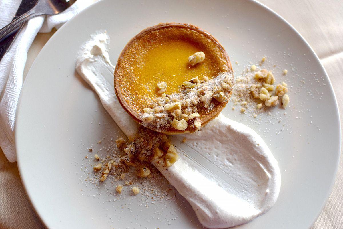 Saffron-chai tart, ginger whipped cream, candied walnuts, spiced sugar 2.jpg