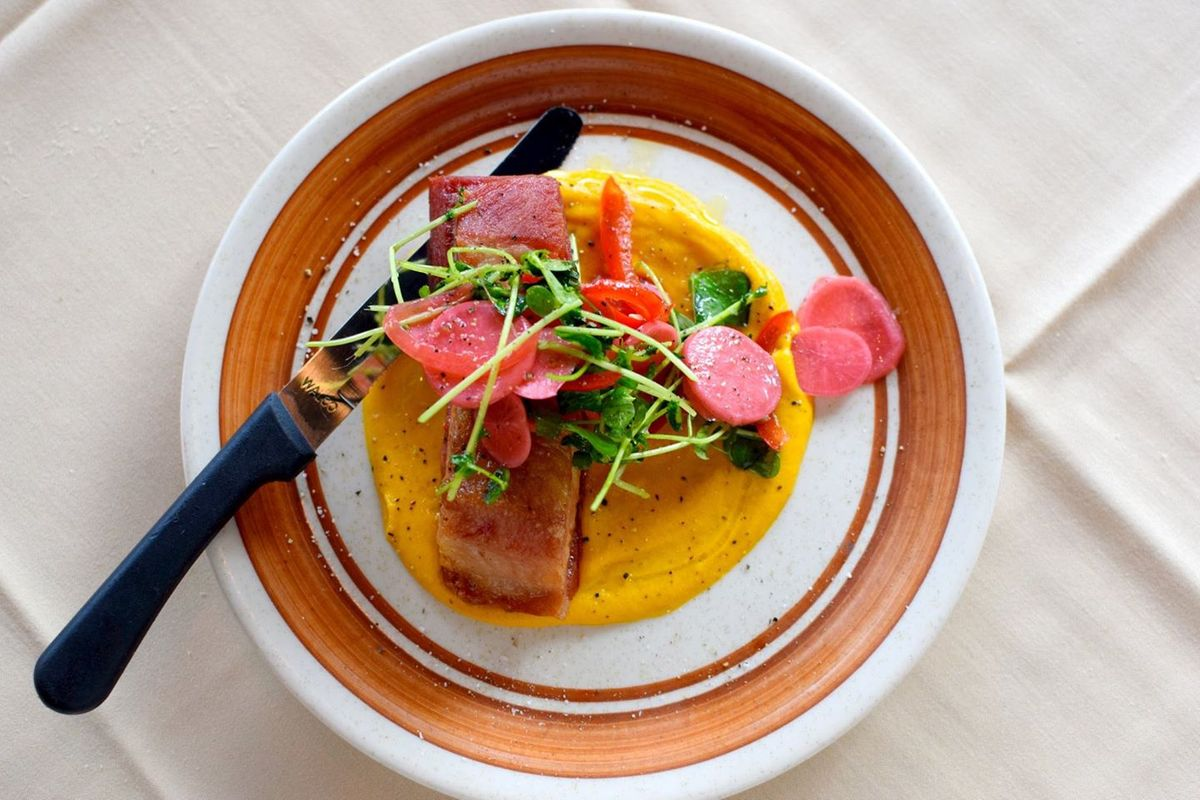 roost's roasted pork belly with sweet potato puree and pickled radish.jpg