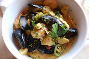 Thai red-curry mussels and shrimp, diced potato, artichoke hearts, wilted herbs.jpg