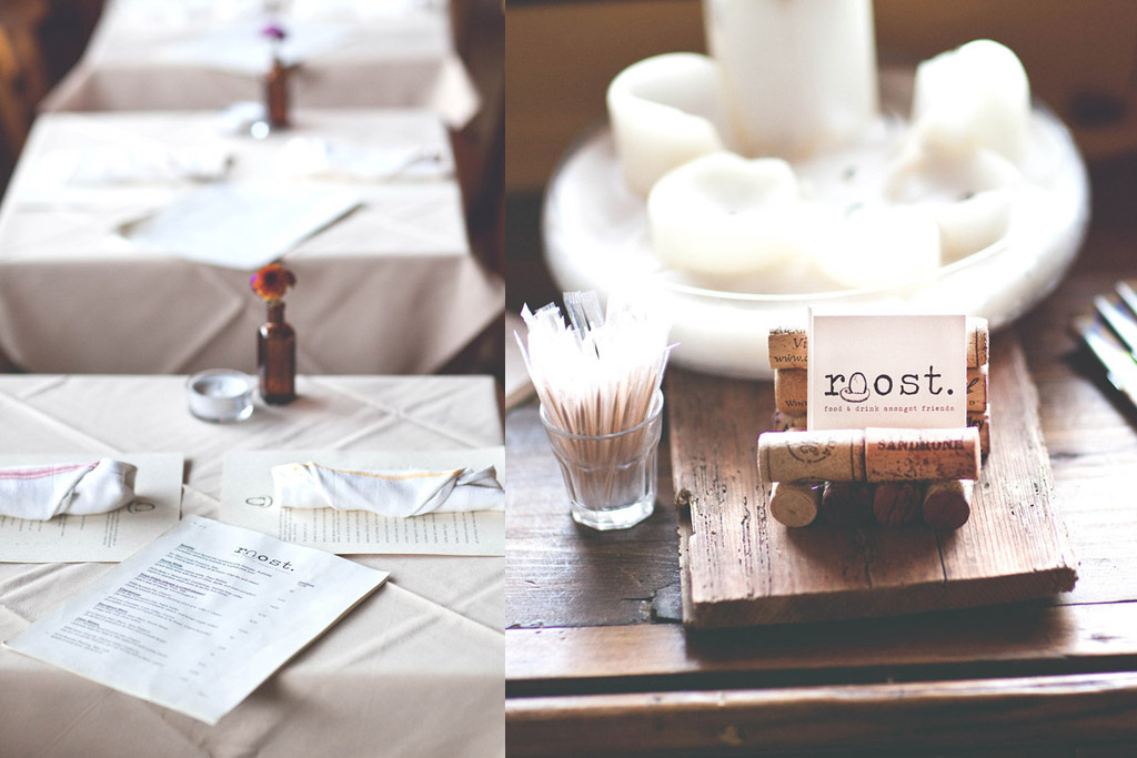roost restaurant table cards