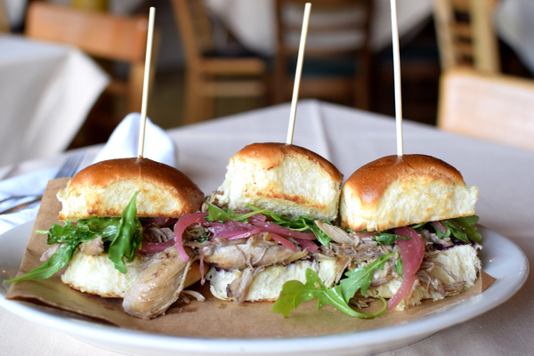 Duck Confit Sliders with Blackberry Mustard, Pickled Red Onion and Baby Arugula on a Challah Roll .jpg