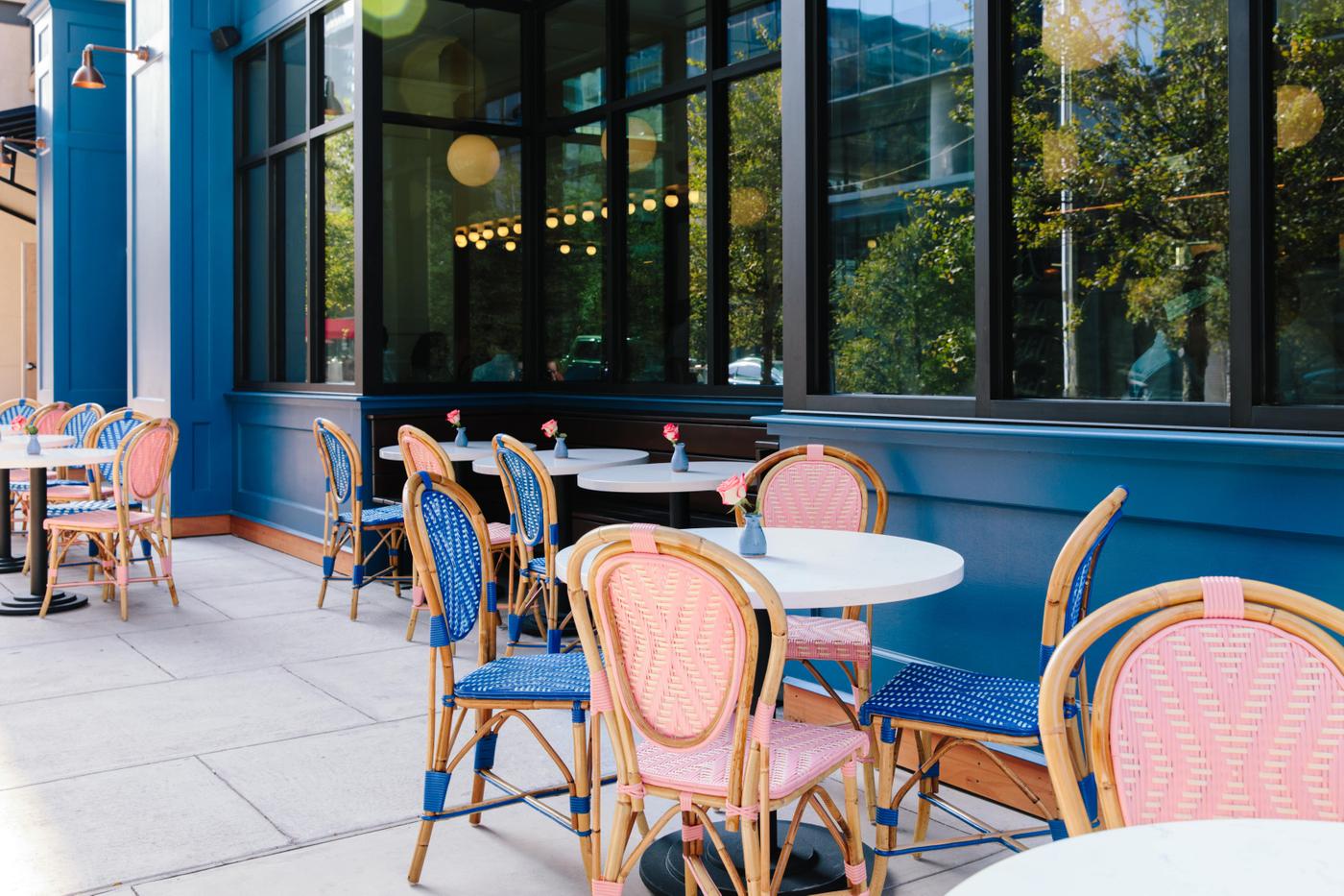 patio at le politique in downtown austin