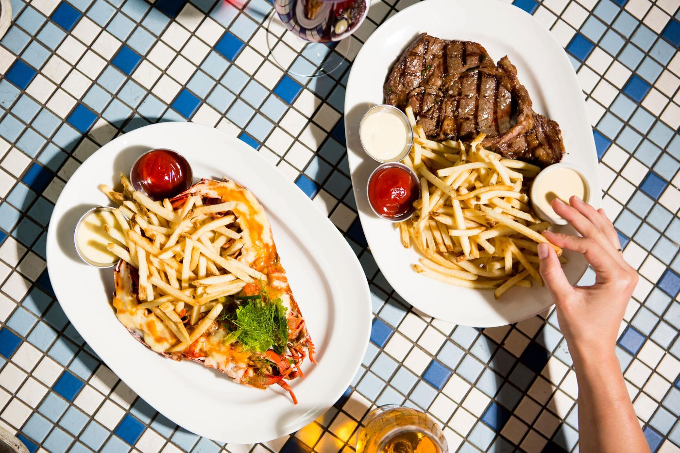 steak and lobster frites
